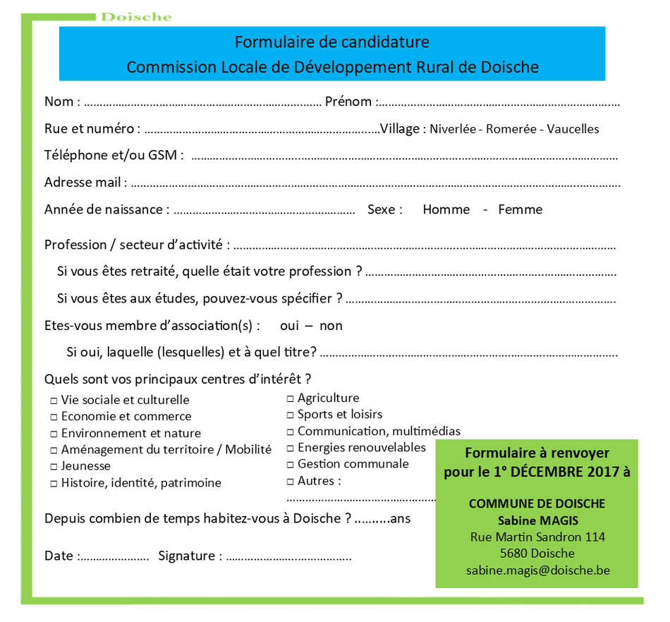 CLDR - Recomposition Bulletin de candidature